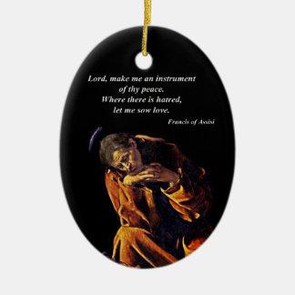 Francisco un instrumento de la paz adorno navideño ovalado de cerámica