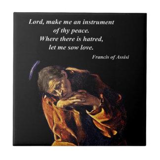Francisco un instrumento de la paz azulejo cuadrado pequeño