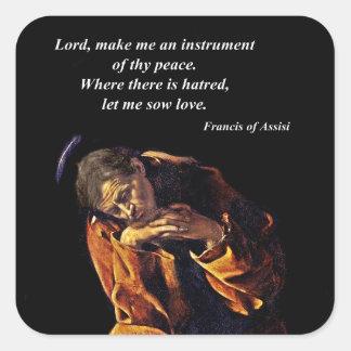 Francisco un instrumento de la paz pegatina cuadrada
