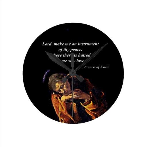 Francisco un instrumento de la paz reloj redondo mediano