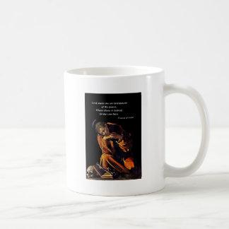 Francisco un instrumento de la paz taza de café