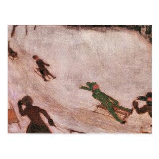 Francisco von Stuck - el sledding de los niños Postales