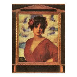 Francisco von Stuck - señora en rojo Tarjeta Postal