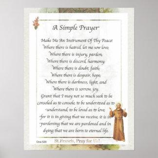 Franciscos de Asís del santo un REZO SIMPLE Poster