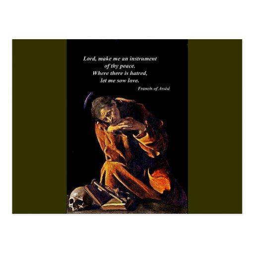 Franciscos de Asís en la meditación Tarjeta Postal