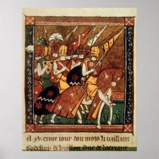 Franco 9084 f.20v: Caballeros a caballo Posters