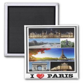 Franco - Francia - París - amor de I - collage Imán Cuadrado