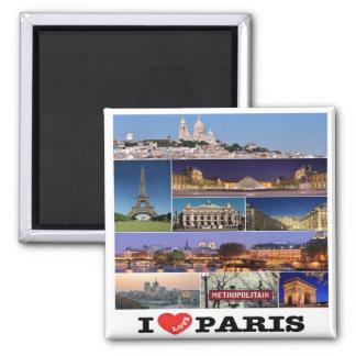 Franco - Francia - París - amor de I. Mosaico del Imán Cuadrado