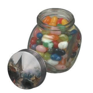 Francois Boucher - Landscape near Beauvais  early Glass Candy Jar