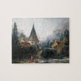 Francois Boucher - paisaje cerca de Beauvais tempr Puzzle