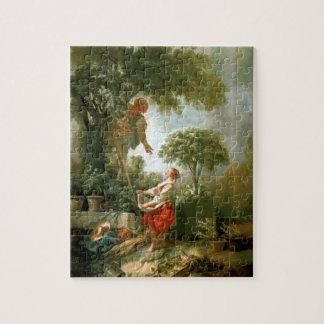 Francois Boucher - paisaje con Kirschpflückerin Puzzle