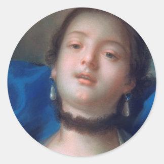 Francois Boucher Portrait of Young Woman lady art Classic Round Sticker