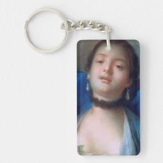 Francois Boucher Portrait of Young Woman lady art Keychain