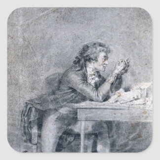 Francois Buzot  contemplating a portrait Square Sticker