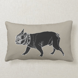 Francois the French Bulldog/Beware of Dog Lumbar Pillow