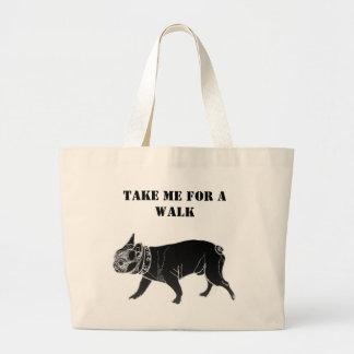 Francois the French Bulldog/Take me for a walk Large Tote Bag