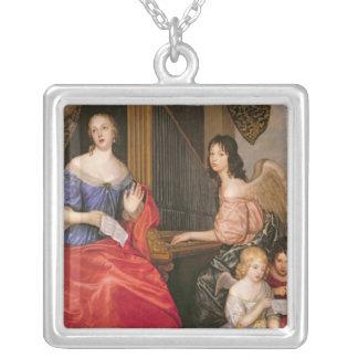 Francoise Louise Duchess La Valliere with Square Pendant Necklace
