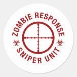 Francotirador del zombi pegatinas redondas