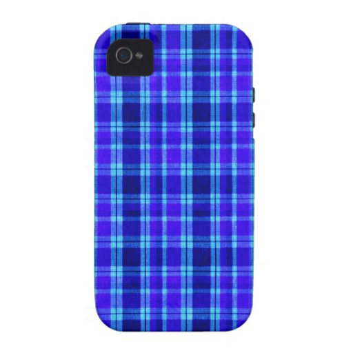 Franela azul de la tela escocesa Case-Mate iPhone 4 carcasa