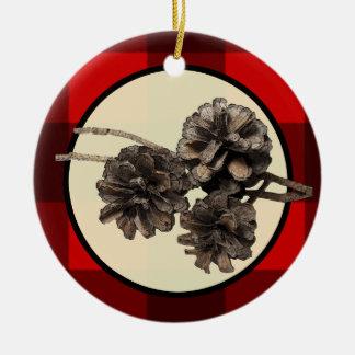 Franela roja y negra de la tela escocesa y navidad adornos de navidad