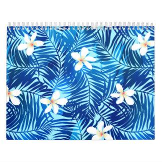 Frangipani and blue palm leaf calendar