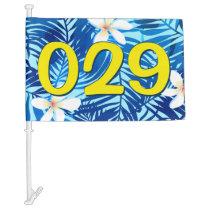 Frangipani and blue palm leaf car flag