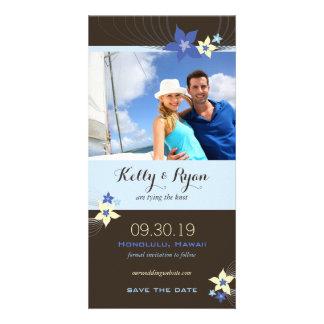Frangipani Blue Aqua Tropical Flower Save The Date Personalized Photo Card