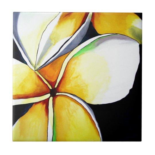 Frangipani flower art tile
