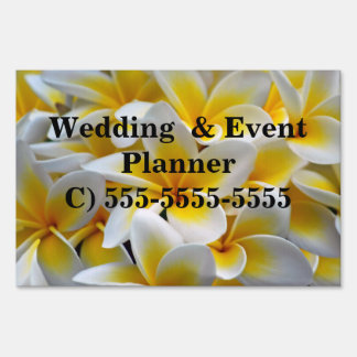 Frangipani flower event planner yard sign