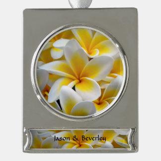 Frangipani flower silver plated banner ornament