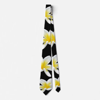 Frangipani,_Flowers,_Black_Yellow_Unisex_Silky_Tie Tie