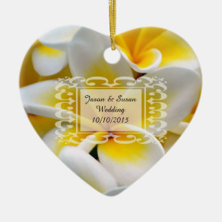 Frangipani flowers save the date Double-Sided heart ceramic christmas ornament