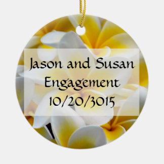 Frangipani flowers save the date Double-Sided ceramic round christmas ornament