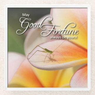Frangipani & Grasshopper Love & Happiness Symbols Glass Coaster