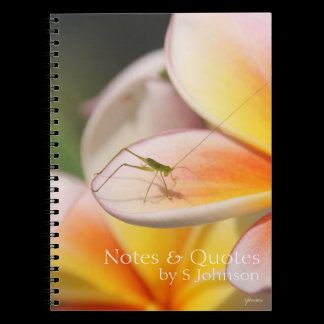 Frangipani & Grasshopper Love & Happiness Symbols Spiral Notebook
