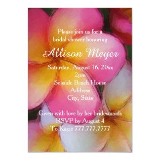 Frangipani Plumeria Flowers Bridal Shower Personalized Invites