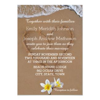Frangipani Plumeria Ocean Wave Wedding Invitations