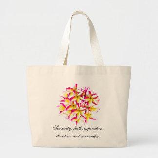 Frangipani temple flower large tote bag