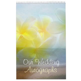 Frangipani Wedding Autograph Book Wall Calendar