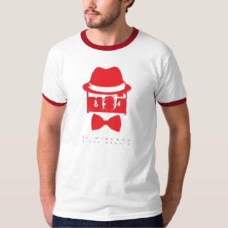 Franja roja gris - camiseta poleras