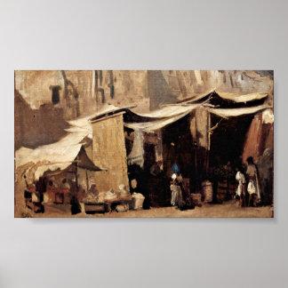 Frank Buchser - Street scene in Algiers Print