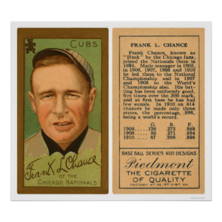 Frank Chance Cubs Baseball 1911 Poster