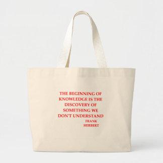 frank herbert quote large tote bag