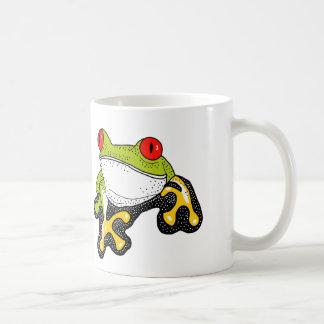 Frank la rana arbórea observada rojo taza básica blanca