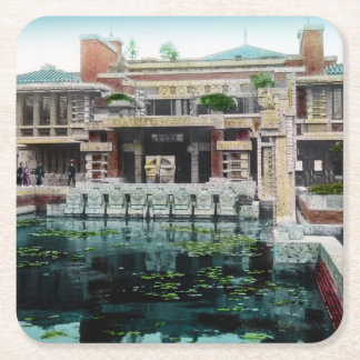 Frank Lloyd Wright Imperial Hotel Japan Vintage Square Paper Coaster