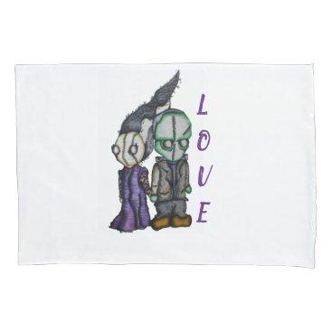 Halloween Themed Frank-n-Bride Pillowcase