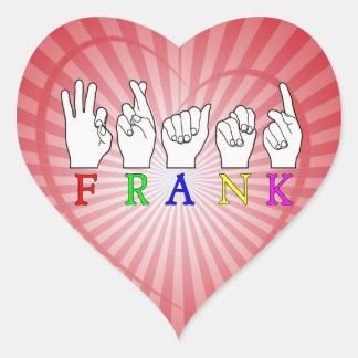 FRANK   NAME ASL FINGER SPELLED HEART STICKER