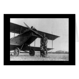 Frank Stanton with a Cat on His Airplane 1922 Card