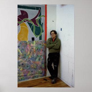 Frank Stella al lado de uno el suyo trabaja Póster