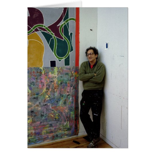 Frank Stella  beside one of his works Card